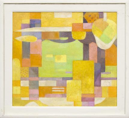 "Hugh Weller painting for sale, ""Harbor"", Abstract, oil, vance kirkland, yellow, orange, green, gold, purple, mustard, cream, ivory"