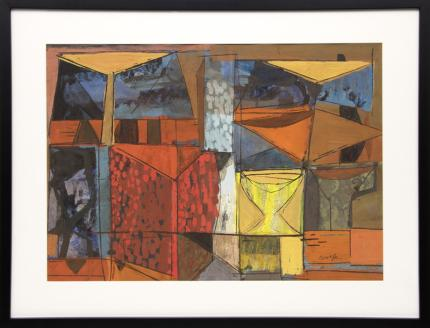 """Lynn R. Wolfe, """"Untitled (Orange and Red Geometric Abstract)"""", mixed media painting fine art for sale purchase buy sell auction consign denver colorado art gallery museum"""