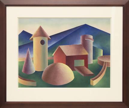 """Ralph Anderson, """"Untitled (Farm)"""", oil, circa 1940"""