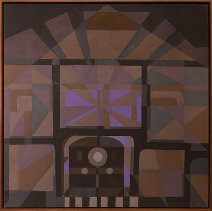 """Margo Hoff, """"Quiet Station"""", mixed media, 1974 abstract painting fine art for sale purchase buy sell auction consign denver colorado art gallery museum"""