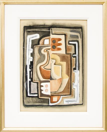 Frank Pancho Gates, abstract art, painting for sale, gouache, red, brown, black, white, gray, southwestern, vintage, original