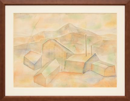"""Frank """"Pancho"""" Gates, """"Untitled (Mine and Mountains, Colorado)"""", watercolor painting fine art for sale purchase buy sell auction consign denver colorado art gallery museum"""