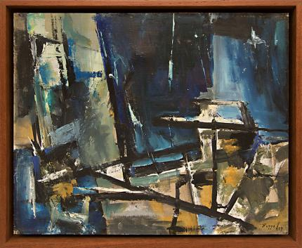 """Charles Ragland Bunnell, """"Untitled"""", oil, 1959 Arnold H. Ronnebeck, """"White Lotus of Lhasa"""", oil, circa 1941 painting fine art for sale purchase buy sell auction consign denver colorado art gallery museum"""