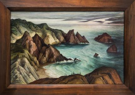 "Ethel Magafan, ""California Coast"", 1943-1945 oil painting fine art for sale purchase buy sell auction consign denver colorado art gallery museum"