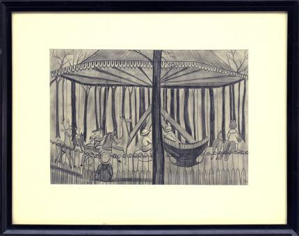 hilaire hiler carousel, paris, merry go round, france, 1920s print, vintage art for sale, graphite drawing, children, park