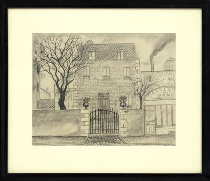 """Hilaire Hiler, """"Untitled (Fabrique des Bébé, Paris)"""", graphite, circa 1925, vintage art, drawing, paris, france, sketch, house, fabriqye des bebe, black, white, gray, original, signed"""