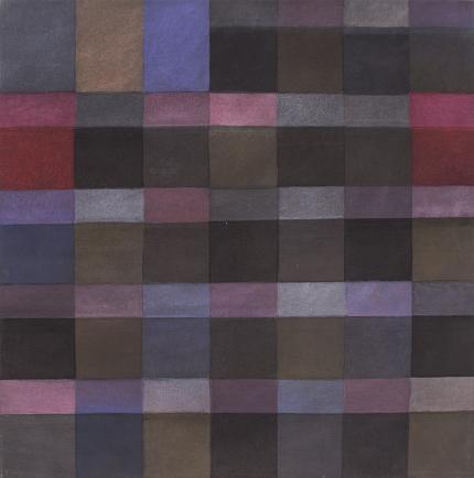 "Margo Hoff, ""Light Calendar Series #1"", abstract painting, vintage original signed, 1984-1985, purple, blue, pink, black. lavender"