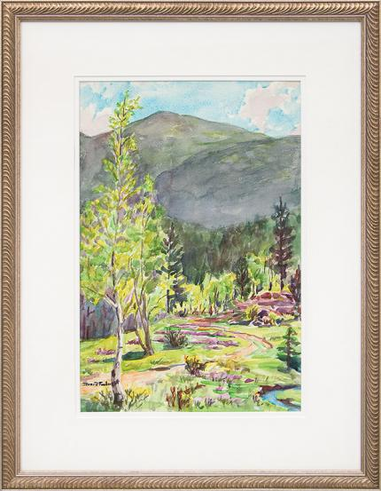 "Irene D. Fowler, ""Untitled (Early Summer, Colorado Mountains)"", watercolor, circa 1930-1950, for sale purchase consign auction denver Colorado art gallery museum"