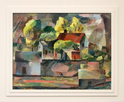 """Lynn R. Wolfe, """"Cubist Farm House"""", oil, 1947 painting for sale painting fine art for sale purchase buy sell auction consign denver colorado art gallery museum"""