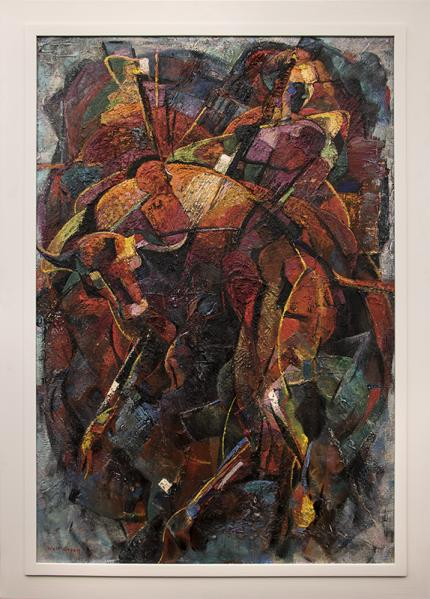 "Walter Olin Green, ""Bullfight"", oil, circa 1950s for sale purchase consign auction denver Colorado art gallery museum"