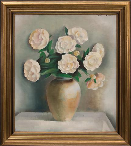 "Paul Lantz, ""White Peonies"", oil painting fine art for sale purchase buy sell auction consign denver colorado art gallery museum"