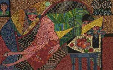 Edward Marecak, Two Mystic Ladies Hiding, oil painting for sale, 1987, vintage art, female figure, fruit, recline, abstract, pink, green, yellow, red, black, blue