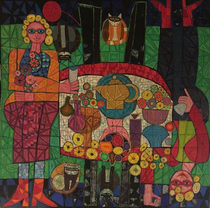 """Edward Marecak oil painting """"Two Mystic Ladies with Four Cats"""", oil painting, vintage 1988, green, red, orange, black yellow semi-abstract"""