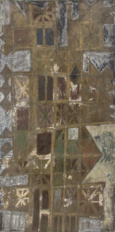 """Edward Marecak art for sale, """"Nero's House of Gold"""", abstract oil painting, 1965, mid-century modern art, earth tones, brown, green, olive, cream, white, red"""