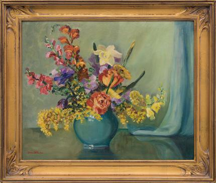 """Irene Fowler, """"Untitled (Still Life with Flowers)"""", oil painting fine art for sale purchase buy sell auction consign denver colorado art gallery museum"""