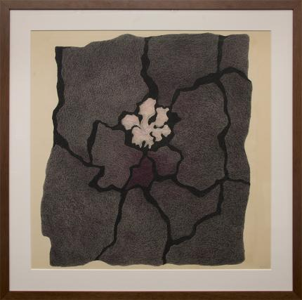 """Margo Hoff, """"Black Top Pink"""", mixed media, 1981 painting fine art for sale purchase buy sell auction consign denver colorado art gallery museum"""
