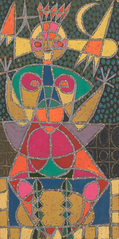 "Edward Marecak, ""Isis"", vintage oil painting for sale, 1960, semi-abstract, mid-century modern, pink, green, yellow, orange, purple, female figure"