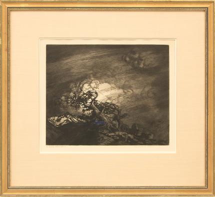 "George Elbert Burr, ""Timberline Storm"", etching painting fine art for sale purchase buy sell auction consign denver colorado art gallery museum"