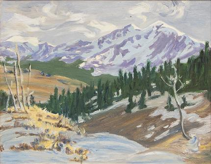 "William Henry Bancroft, ""Untitled (Colorado Mountains)"", oil, circa 1950 painting fine art for sale purchase buy sell auction consign denver colorado art gallery museum"