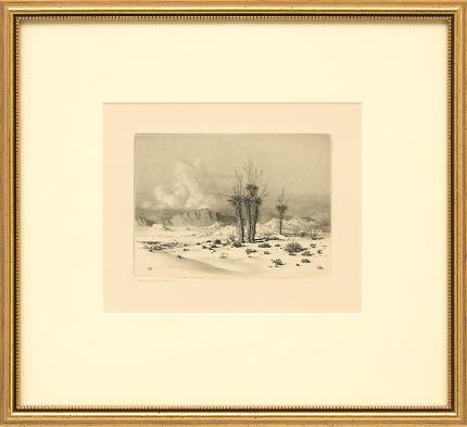 "George Elbert Burr, ""Evening, Arizona"", etching, August 1930 painting fine art for sale purchase buy sell auction consign denver colorado art gallery museum"