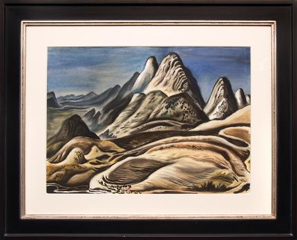 """Vance Kirkland  """"Colorado Landscape (View from Red Rocks looking south toward Soda Lakes)"""", watercolor, 1943 painting fine art for sale purchase buy sell auction consign denver colorado art gallery museum"""