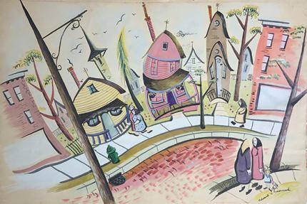 Edward Marecak original vintage painting for sale, modernist street scene, houses, denver