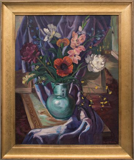 "Frank Vavra, ""Still Life"", 1930s oil painting fine art for sale purchase buy sell auction consign denver colorado art gallery museum"