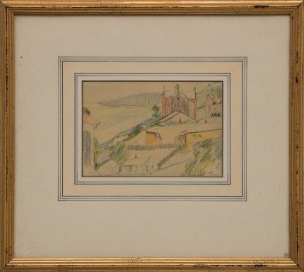 Margaret Tee colorado mining Hill Town drawing colored pencil, circa 1920s-1940s painting fine art for sale purchase buy sell auction consign denver colorado art gallery museum