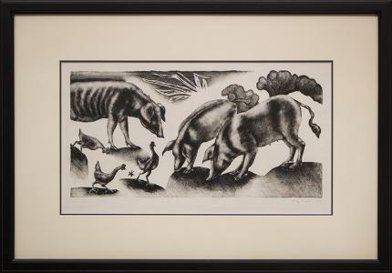 "George Biddle, ""Pigs and Chickens"", lithograph, 1937 painting fine art for sale purchase buy sell auction consign denver colorado art gallery museum"