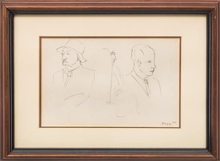 """Gladys Caldwell Fisher, """"Heads"""", graphite portrait figure drawing, 1939 painting fine art for sale purchase buy sell auction consign denver colorado art gallery museum"""