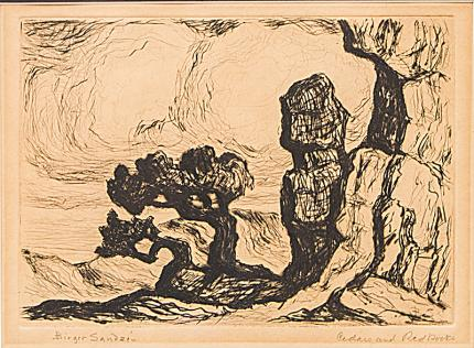"Birger Sandzen, ""Cedars and Red Rocks (Colorado)"", etching, 1922-33 painting fine art for sale purchase buy sell auction consign denver colorado art gallery museum"