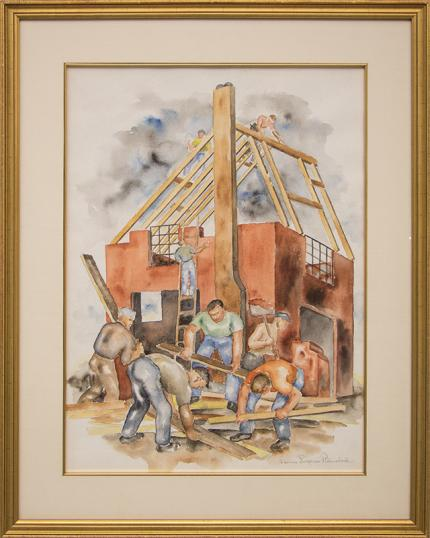 """Louise Emerson Ronnebeck, """"Building Boom"""", watercolor, 1937 painting fine art for sale purchase buy sell auction consign denver colorado art gallery museum"""