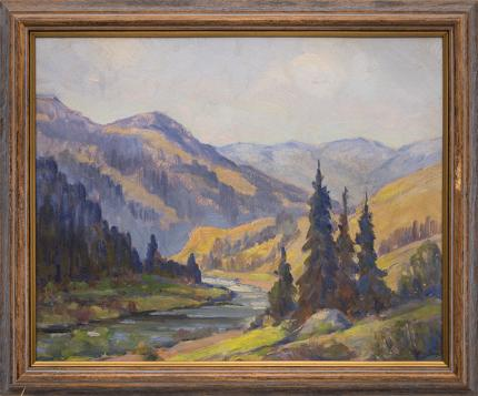 """Frank Lorence Eaton, """"Untitled (Mountain River)"""", oil for sale purchase consign auction denver Colorado art gallery museum"""