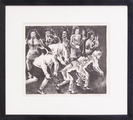 """George Biddle, """"Buffalo Dance"""", lithograph, 1937 painting fine art for sale purchase buy sell auction consign denver colorado art gallery museum"""