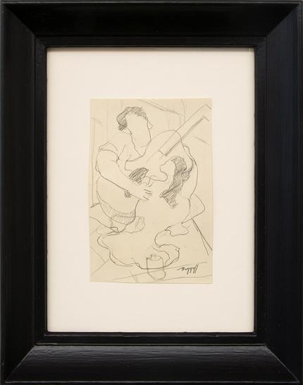 Charles Bunnell art for sale, Guitar Player, reclining woman, modernist drawing, graphite, pencil, sketch, vintage, circa 1935