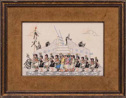 J.D. Roybal watercolor painting pueblo indian harvest dance