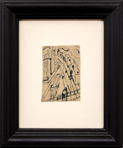 Charles Ragland Bunnell art for sale, Railway Tracks, trains, kansas city, ink drawing, painting, circa 1935, vintage, broadmoor academy, wpa era