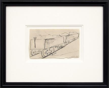 Charles Bunnell art for sale, vintage 1930s, Mining Carts, ore, colorado, ink, drawing, painting, circa 1935, broadmoor academy, wpa era
