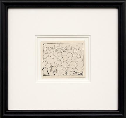 Charles Bunnell art for sale, Kansas City, modernist ink drawing, vintage, circa 1935, broadmoor academy, wpa era