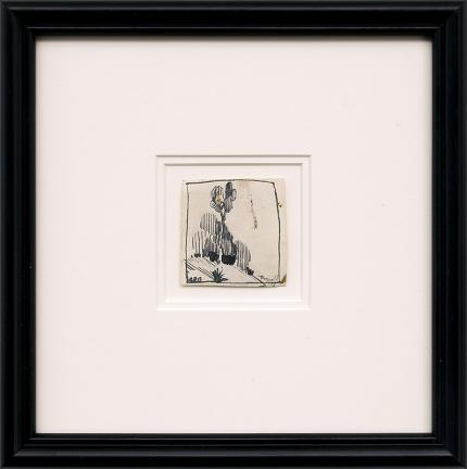 Charles Bunnell, vintage art for sale, Tree drawing, cactus, ink drawing painting, circa 1935