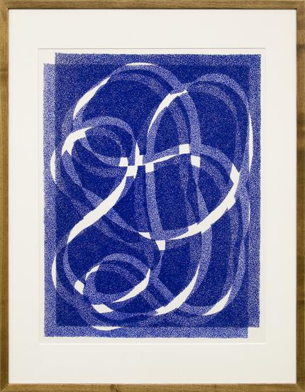 "Margo Hoff art for sale, ""White Line - Blue (Variation 1)"", serigraph/silkscreen, vintage, woman artist, abstract expressionist, american"