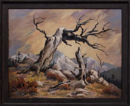 """Inez Tatum, """"Conversation"""", mountain landscape old tree oil painting fine art for sale purchase buy sell auction consign denver colorado art gallery museum"""