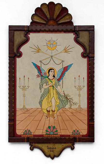 "Michael Blatnik, ""Isaias 9:6"", acrylic, 2016 retablo hispanic devotional spanish colonial"