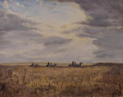 "Anna H. Essick, ""Modern Monsters (Harvesting Wheat, Colorado)"", oil, 1949"