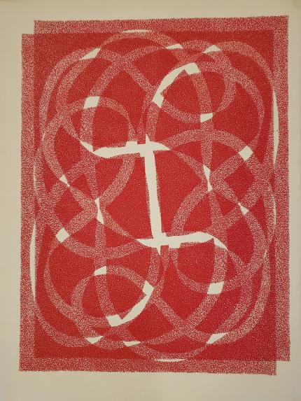 "Margo Hoff art for sale ""White Line - Red Variation"", original vintage serigraph/silkscreen"