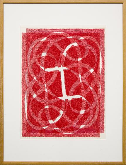 """Margo Hoff, """"White Line - Red (Variation 2)"""", vintage abstract art for sale, serigraph, silkscreen, woman artist, chicago, painting"""