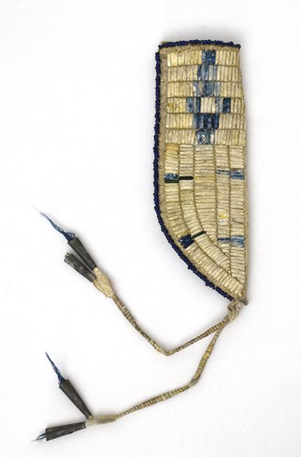 Plains Knife Sheath miniature childs quill work transitional circa 1875-1900  19th century Native American Indian antique vintage art for sale purchase auction consign denver colorado art gallery museum