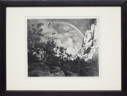 """George Elbert Burr, """"The Edge of the Desert, Arizona"""", etching, circa 1925 painting fine art for sale purchase buy sell auction consign denver colorado art gallery museum"""