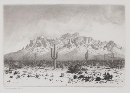 """George Elbert Burr, """"Superstition Mountain, Apache Trail, Arizona"""", etching painting fine art for sale purchase buy sell auction consign denver colorado art gallery museum"""