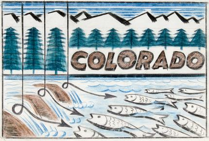 "Arnold Ronnebeck painting for sale, ""Colorado Fishing #1"" illustration, circa 1933"
